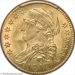 1810 Large Date, Large 5 Gold Half Eagle PCGS MS64