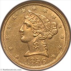 1856-C Gold Half Eagle NGC AU58