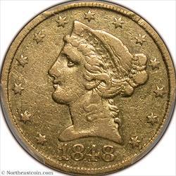 1848-C Gold Half Eagle PCGS VF25