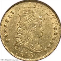 1806 Knobbed 6 Gold Half Eagle NGC MS61