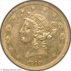 1839 Gold Half Eagle NGC AU55
