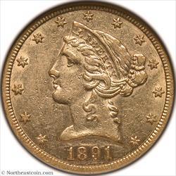 1891-CC Gold Half Eagle NGC AU53