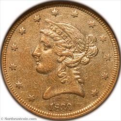 1839 Gold Half Eagle NGC AU53