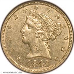 1849 Gold Half Eagle NGC AU58