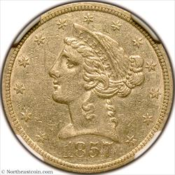 1857-S Gold Half Eagle NGC AU53