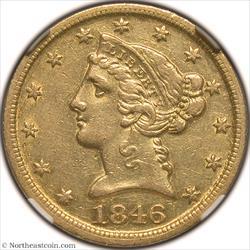 1846-D/D VP-001 Gold Half Eagle NGC AU55