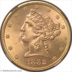1882-S Gold Half Eagle NGC MS65
