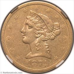 1874-S Gold Half Eagle NGC AU50