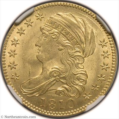 1810 Large Date, Large 5  BD-4 Gold Half Eagle NGC MS65