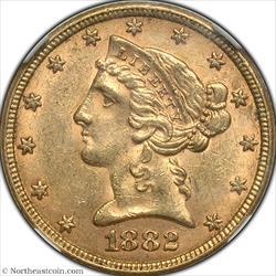 1882 Gold Half Eagle NGC MS61