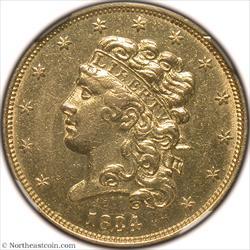 1834 Classic Head Plain 4 Gold Half Eagle NGC MS60