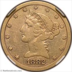 1882-CC Gold Half Eagle NGC F12