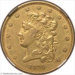 1834 Classic Head Plain 4 Gold Half Eagle NGC AU55