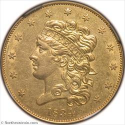 1834 Classic Head Crosslet 4 Gold Half Eagle NGC AU58