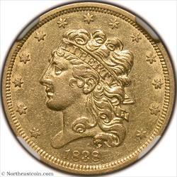 1838 Gold Half Eagle NGC AU53