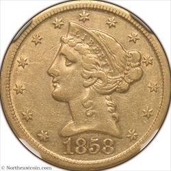 1858-D Gold Half Eagle NGC AU53