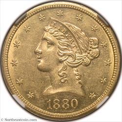 1880-CC Gold Half Eagle NGC AU58