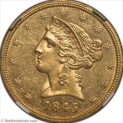 1845 Gold Half Eagle NGC MS60