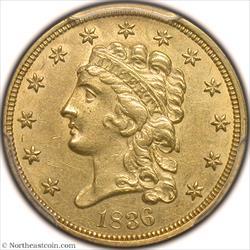 1836 Script 8 Gold Quarter Eagle PCGS MS61