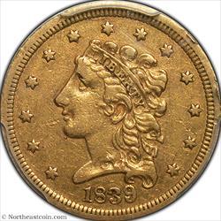 1839 Gold Quarter Eagle PCGS VF35