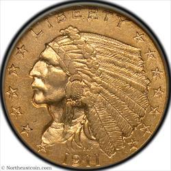 1911-D Gold Quarter Eagle NGC AU55