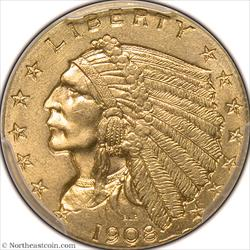 1908 Gold Quarter Eagle PCGS MS64