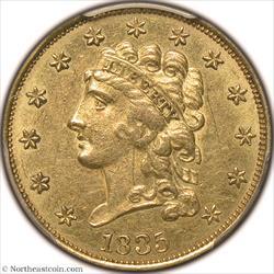 1835 Gold Quarter Eagle PCGS MS61