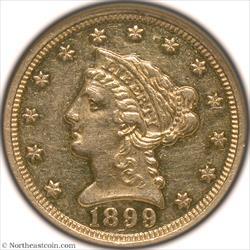 1899 Gold Quarter Eagle NGC PF58
