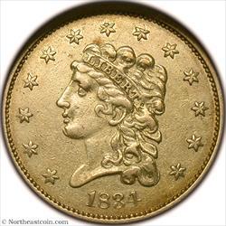 1834 Classic Head Gold Quarter Eagle NGC AU55