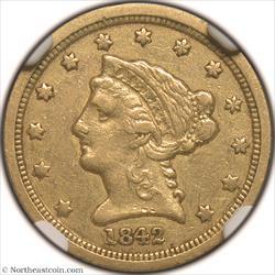 1842-C Gold Quarter Eagle NGC VF30