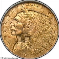 1929 Gold Quarter Eagle NGC MS63