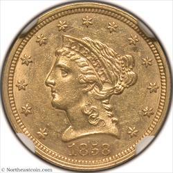 1858 Gold Quarter Eagle NGC MS60