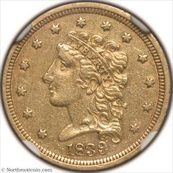 1839 Gold Quarter Eagle NGC AU55