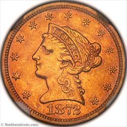1872-S Gold Quarter Eagle NGC AU55