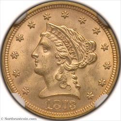 1873 Closed 3 Gold Quarter Eagle NGC MS64