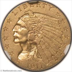 1911-D Gold Quarter Eagle NGC AU58
