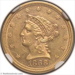 1868 Gold Quarter Eagle NGC AU58