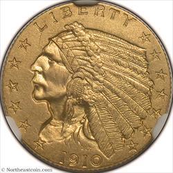 1910 Gold Quarter Eagle NGC PF64