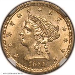 1861 Type 2 Gold Quarter Eagle NGC MS62