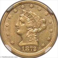 1872 Gold Quarter Eagle NGC AU55