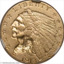 1913 Gold Quarter Eagle NGC AU58