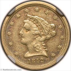 1842-O Gold Quarter Eagle NGC AU50