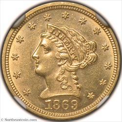 1869 Gold Quarter Eagle NGC MS61
