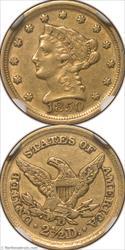1850-D Gold Quarter Eagle NGC AU55