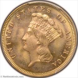 1882 Gold Three Dollar PCGS MS65