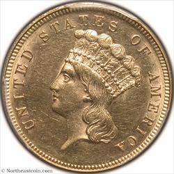 1868 Gold Three Dollar PCGS MS61