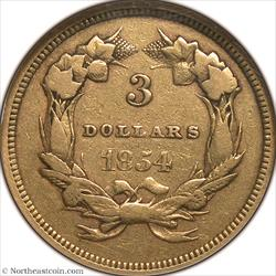1854 Gold Three Dollar NGC VF25