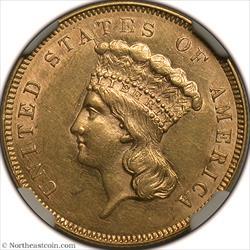 1855 Gold Three Dollar NGC AU58
