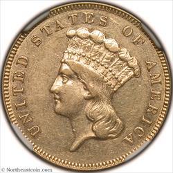 1886 Gold Three Dollar NGC AU55