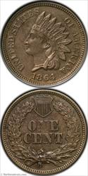 1864 Copper Nickel Indian Cent ANACS AU50
